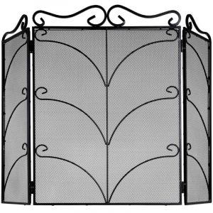Large Black Ornate Fire Screen