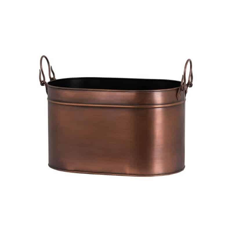 large copper log bucket