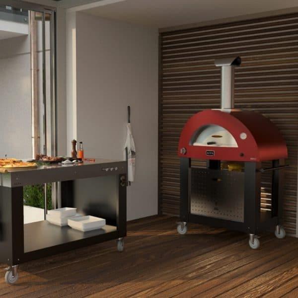 brio pizza oven in garden